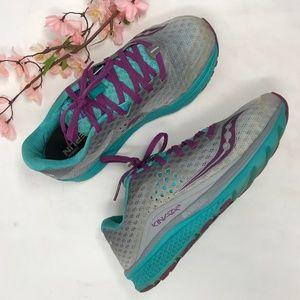 Saucony Kinvara 8 Teal Purple Grey Running Shoes